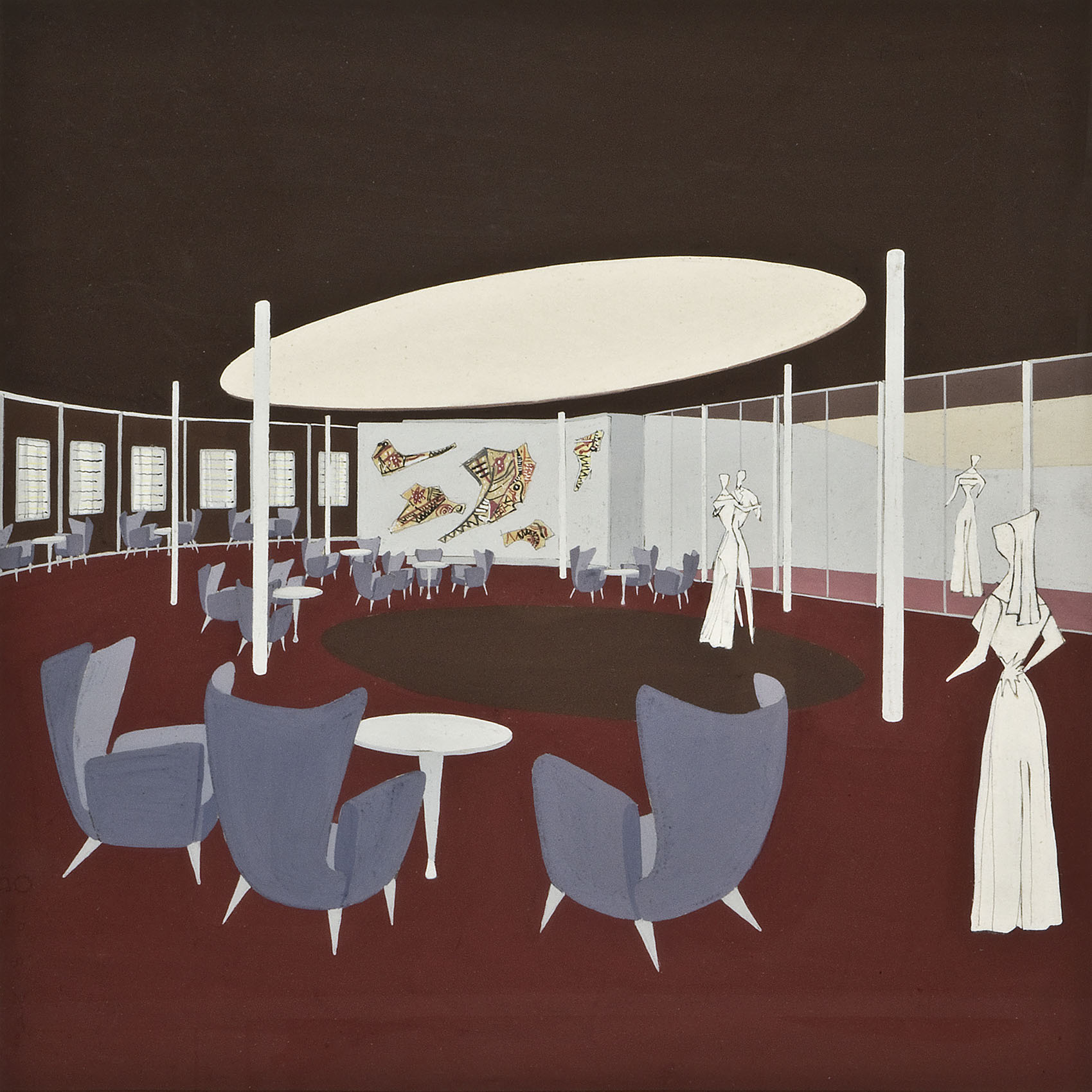 M/n Australia, bozzetto per la veranda bar di prima classe MS Australia, preparatory sketch for the first-class veranda bar 1950
